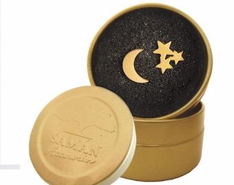 Night Earrings / Night Sky Jewelry / Night Sky Gifts / Crescent Moon Earrings / Moon Earrings / Star Jewelry / Stainless Steel Studs