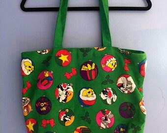 90s Christmas Looney Tunes Tote Bag
