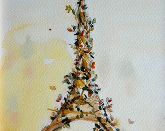 The Eiffel Tower tree postcard