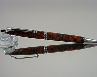 Handcrafted, 7mm Mechanical Pencil in Rhodium and Orange Stained Glass