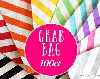 Destash Sale GRAB BAG 100 - Mini Paper Treat Bags - Assorted Colors and Patterns
