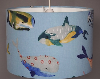 Fun whales blue ceiling pendant or table lampshade - 30cm diameter shade