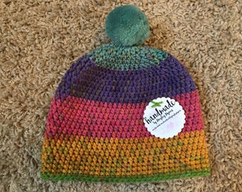 Child Sized Hat, Pom pom, multicoloured