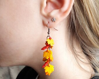 Fall dangle earrings autumn leaf jewelry canada maple leaf red long earrings small fall leaf jewelry holiday Gift cute earrings orange leaf