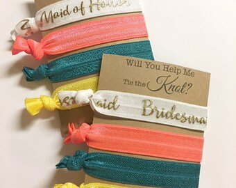 Will you be my Bridesmaid Gift, Will you be my Maid of Honor Gift, Bridesmaid Hair Ties, Bridesmaid Proposal, Will You Be My Flower Girl