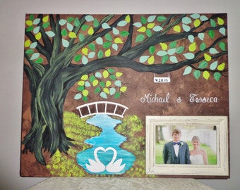 wedding guest book with picture frame....18X24....150 guests....4x6 picture frame....Swans