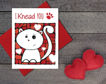 Cat Greeting Card - Cute Card For Her - I'm Sorry Card - Thinking of You - Anniversary Card - Cat Lovers - Funny Pun Card - Valentine's Card