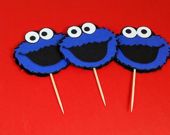 Cookie Monster Cupcake Topper, Sesame Street Birthday, Cookie Monster Decor, Cookie Monster Birthday Party