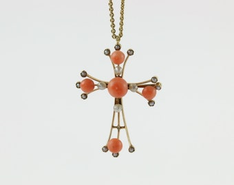 Victorian 18K Coral & Seed Pearl Cross Necklace