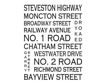 Steveston B.C.  - Love This Place Street Name Art Print on Paper - Customize With Your Street - Vancouver Home Decor TheJitterbugShop