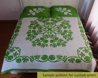Hand quilted Hawaiian appliqué quilt, ulu breadfruit, Sale, Comforter, Hawaiian Appliqued&hand quilted, Bedspread, King size, Homemade quilt