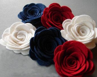 "Wool Felt Flowers -  X Large Posies 2-1/4"" America Red White & Blue - Dimensional Flowers Set of 6"
