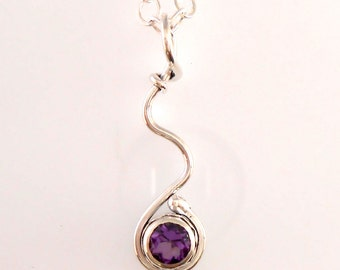 Amethyst Faceted Stone in Sterling Bezel with Swirl Wire Pendant