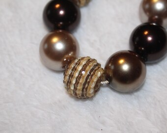 Chunky Bubblegum Necklace - Brown