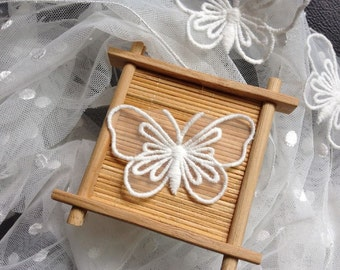 Organza Butterfly, Lace Butterfly, Embroidery Butterlfy Applique Off White on Sale
