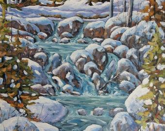 Running River Spring Melt  Large Landscape Oil Painting created by Richard T Pranke