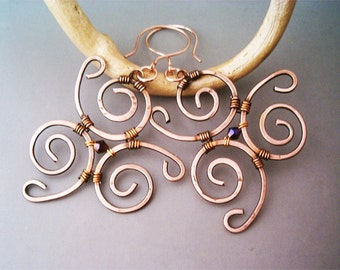Wire Wrapped Spiral Hammered Copper Earrings- Handmade Copper Earrings - Copper Jewelry