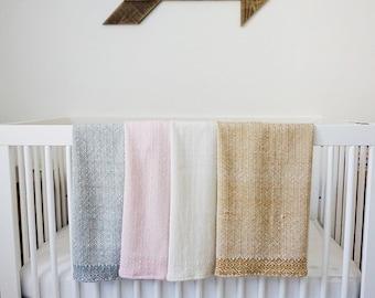 Hand Woven Heirloom Alpaca and Silk Baby Blankets