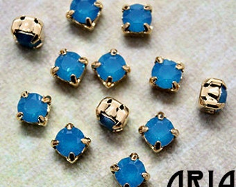 CARRIBEAN BLUE Opal: Swarovski SS29 6.5mm 17704 Xilion Gold Plated Two Hole Sew-On Slider Bead Component (12)