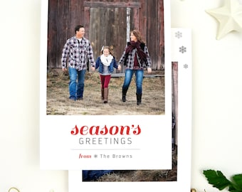 Photo Christmas Cards, Seasons Greetings Christmas Cards with Picture, Holiday Cards Modern, Photo Christmas Cards Snowflake Christmas Cards