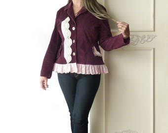 Upcycled stretch corduroy Jacket, vintage linen, pink ruffle, size medium large, feminine- purple, violet, stretch fitted blazer, cotton