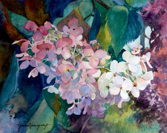 Hydrangeas Painting-Fine Art Giclee Print of original watercolor painting of Autumn Hydrangeas in shades of rose, blue and green-Wall Art