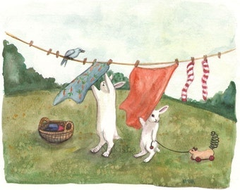 Laundry Day- Large fine art animal print