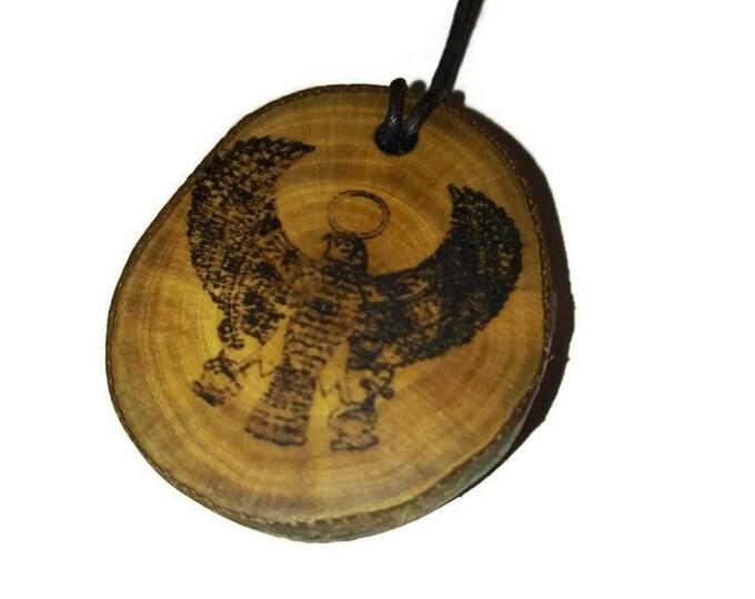 Bespoke Tutankhamun Falcon King Tut Egyptian Pharaoh Necklace Wood Pendant Rustic Unique Wooden Charm Choker Jewellery Keyring Scented Gift