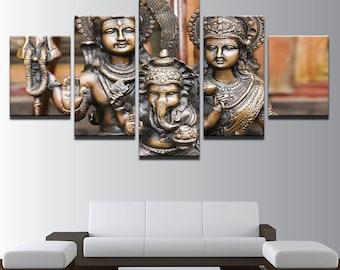 Framed Multi Panel Canvas Split |  Beautiful Canvas Wall Mural |  Split Panel |  Abstract Wall Art | India God Shiva Parvati Ganesha