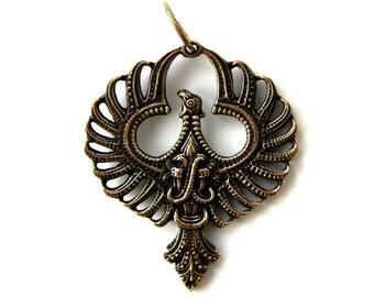 Phoenix (1) Bronze pendant with leather cord Bird pendant Phoenix jewelry Phoenix Wings Pendant necklace Phoenix rising Egyptian mythology