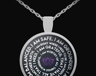 I am Mantra Necklace, Mantra Necklace, Motivation Necklace, Mantra Pendant, Inspirational charm, strength jewelry, I am enough pendant