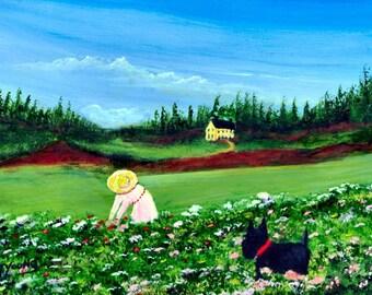 Scottie Garden Scottish Terrier dog folk art print by Todd Young