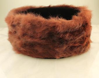 Vintage Hat, 1950's Fur Hat, Fur Ring
