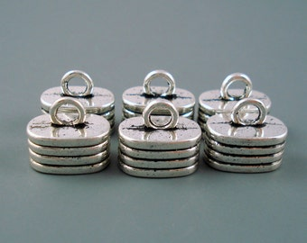 7MM x 12MM Oblong End Cap, SIX Silver Caps for Leather or Cord, Multiple Strand Cap (Cap715B)