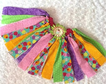 Birthday Fabric Tutu / Girls Party Tutu / Toddlers Tutus / Kids Tutu / Scrap Tutu / Photo Prop Tutu / Birthday Tutu Skirt / Rainbow Tutu