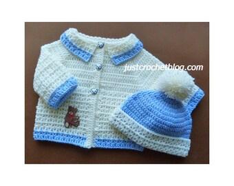 Crochet Coat and Bobble Hat Baby Crochet Pattern (DOWNLOAD) FJC156