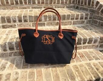 Designer Inspired Canvas Tote - Monogram - Personalized - Womens Purse - Beach Bag - Monogram Tote - Black Designer Bag Personalized