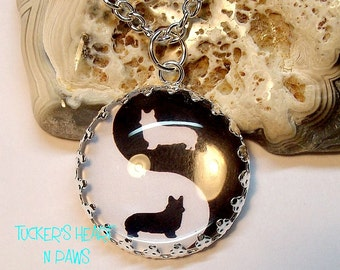 Welsh Corgi Yin And Yang Necklace Or Key Chain