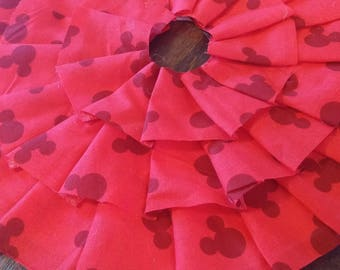 Miniature Red Mickey Mouse Ruffled Christmas Tree Skirt