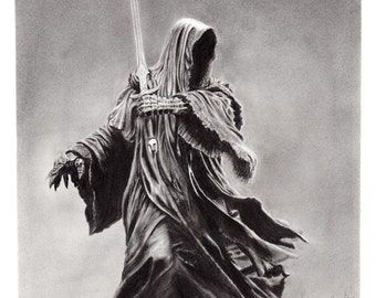 Nazgul - Signed 8x10 Art Print of Pencil Drawing by 70ms- Ringwraith, LOTR, Lord of the Rings, Tolkien, The Hobbit, Ring Wraith