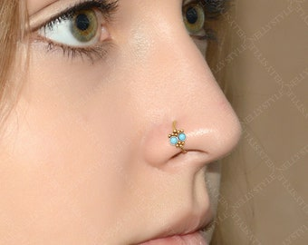 Nose Ring with Turquoise Gemstone - surgical steel nose piercing