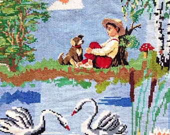 Wall hanging Embroidered art Folk art Vintage embroidery Large Ukrainian embroidery Boy and dog Embroidered art  Embroidered decor