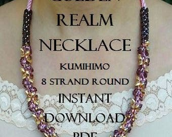 Kumihimo Pattern - Golden Realm Necklace Pattern - Instant Download PDF -  Sll Metallic - 8 Strand Round - Intermediate - Simply Stunning