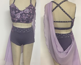 Youth XL lilac two piece dance costume