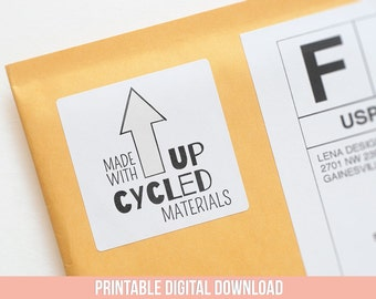 Upcycled Design - Printable Stickers - Eco Friendly Products - Product Labels - Packaging Stickers - Handmade Tags - Etsy Shop Supplies