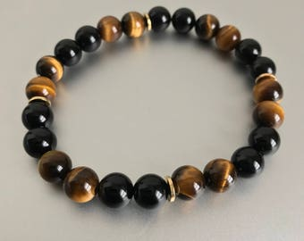 Tigereye And Onyx 8mm Bracelet w/ Gold Platted Accents