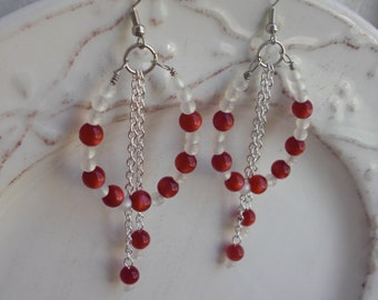 Red and white translucent bead teardrop dangle earrings