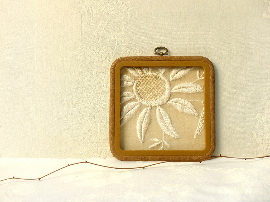 Shabby chic rustic decor, Holiday gift idea, Wall Floral embroidery ...