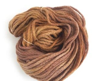 Bulky merino chainette wool, brown chunky yarn, Perran Yarns Sweet Chestnut crochet variegated skein hank, free knitting pattern