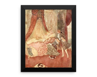 Sleeping Beauty in the Wood by Edmund Dulac Framed Art Print Poster Reproduction